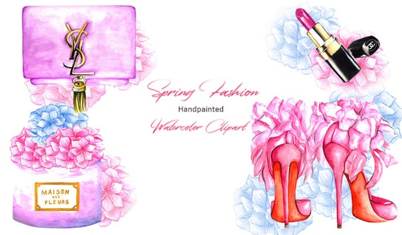Spring Fashion Watercolor Clipart Watercolor Flowers