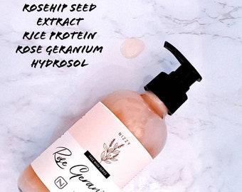 Rose and Geranium Face Wash, Face Cleanser, Natural Skincare, Zero Waste Skincare, Natural Face Wash, Ph Balanced Face Wash, SLS Free Wash
