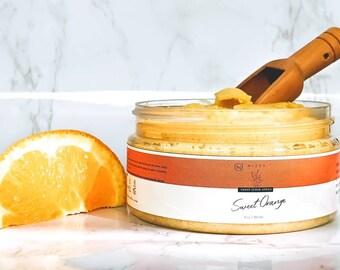 Natural Turmeric Sugar Scrub, Scrub for dry skin, Turmeric Sugar Body Scrub, Exfoliating Body Scrub, Handcrafted Orange Sugar Scrub