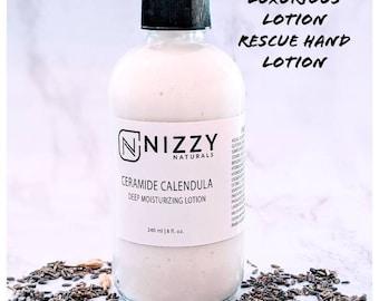 Ceramides and Calendula Intense Hand Lotion, Lotion for Dry Hands, Hand Lotion, Hand Rescue Lotion, Moisturizer, Pump Bottle