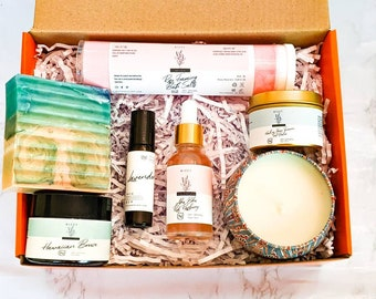 HOME SPA KIT - Relaxation Box - Mom Spa Care Gift Box - Face Moisturizer Organic Body Care - Mothers Day Gift - Healing Foot Balm