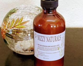 Natural Rose and Geranium Hand and Body Lotion, Hand Lotion, Body Lotion, Lotion for Dry Skin, Natural Lotion, Soft Skin Lotion