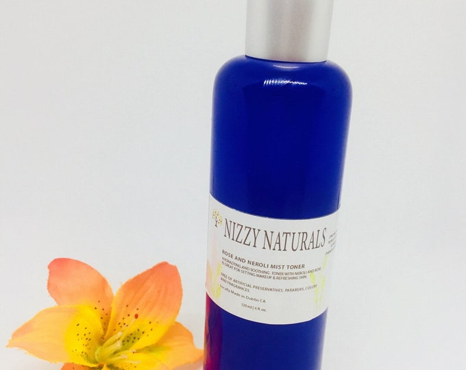 Featured listing image: Natural Hydrating Rose Neroli Facial Toner Spray, Calming Toner, Alcohol Free,  Dry and Mature Skin,  Fragrant, 100% Pure, Vegan , Best Gift