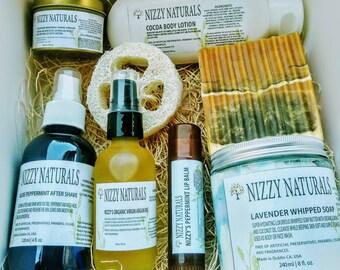 Men Spa Gift Set with Loofah, Natural Spa Gift Set for Men, Bath Gift Basket for Men, Gifts for Men Box, All Natural Bath and Body Gift Set