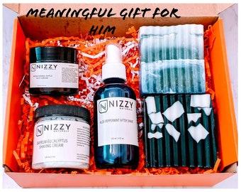 Natural Shaving Gift Box for Men, Mens Gift Box Set, Mens Skin Care Gift Set, Natural Skin Care Products Set for Men, Shaving and Bath Gift