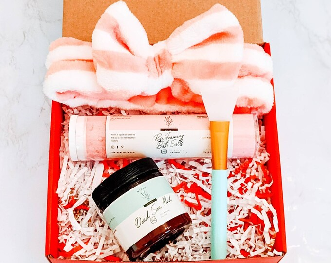 Featured listing image: Self Care Box for Women, Spa Gift Set, Relaxation Gift Box, Natural Spa Gift Set, Thinking of You Gift, Pamper Box for Her, Spa Headband