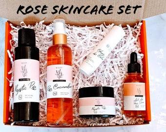 Rose Natural Skin Care Set, Gift Set for Her, Anti  Aging Skin Care Gift Box, Beauty Box Gift, Gift for Mom, Birthday Gift Box