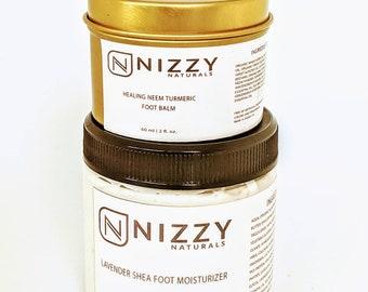 Natural Foot Moisturizer and Balm Set, Aloe Lavender Moisturizing Foot Cream, Lactic Acid Cream For Feet, Moisturizer for Feet, Creams Set
