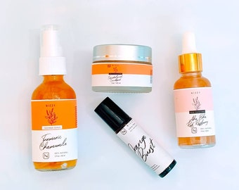 SKINCARE TRAVEL SIZE Set - Hydrating Facial Care Kit - Brightening Self Care Box- Thoughtful Gift For Her - Zero Waste Skin Care