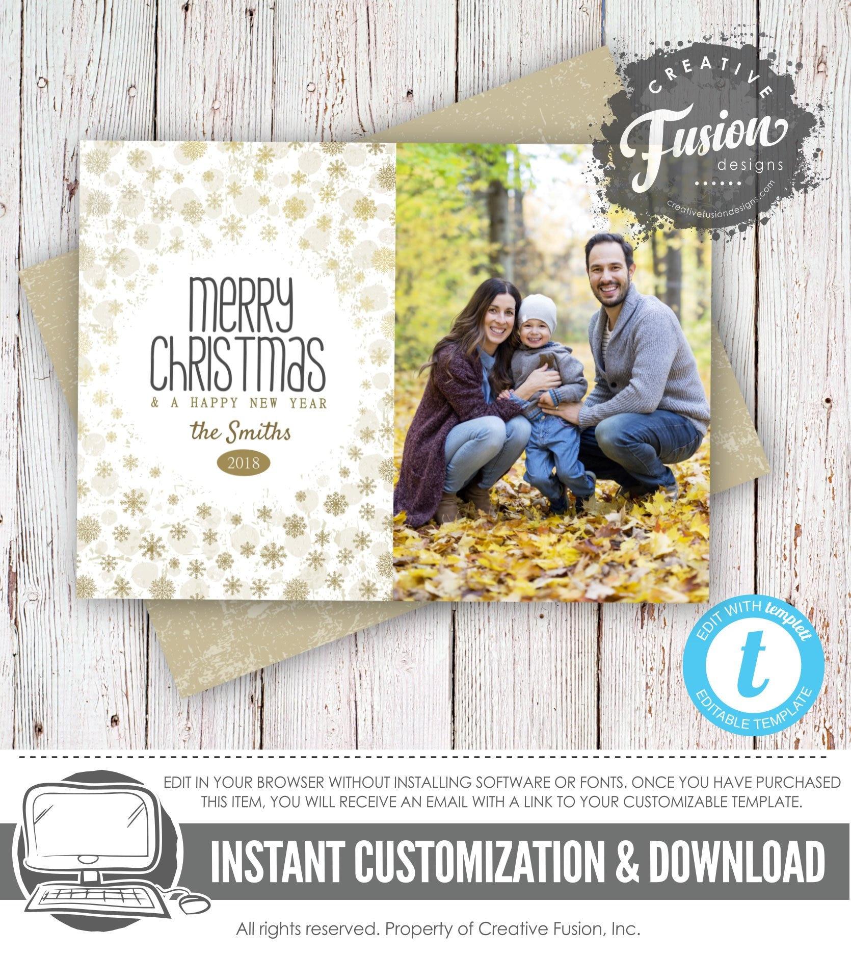 Digital Christmas Cardphoto Christmas Cardgoldfamily Etsy