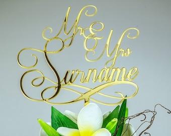 Personalised Wedding Cake Topper Mr & Mrs Surname Custom Made Decoration