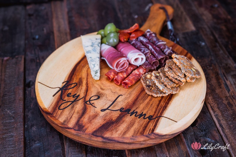 Personalised Cheese Board Custom Engraved Charcuterie Platter.