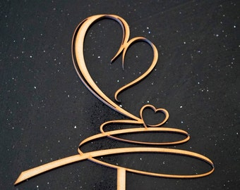 Love Heart Swirl- Wedding Cake Topper Decoration