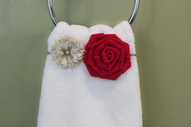 several colors to choose from Burlap Rose Accessories for Towel Keeper