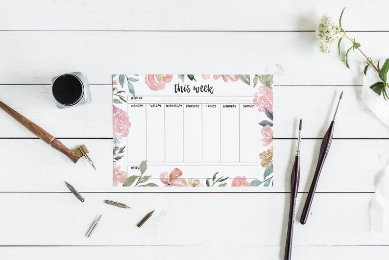 Weekly Planner Printable - Gift for Her, Planner Inserts, Bullet Journal  Weekly Spread, Weekly Planner Template, Watercolor Flowers Border