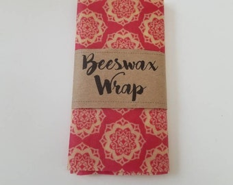 12 x 12 or 8 x 10 Beeswax Wrap reusable eco friendly food covers. Similar to Bee's Wrap.  Pink Mandala Design