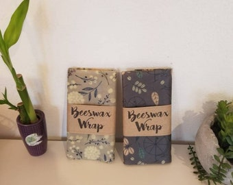 12 x 12 or 8 x 10 Beeswax Wrap reusable eco friendly food covers. Similar to Bee's Wrap. Grey designs