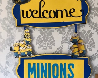 Minion Theme - Welcome Hanging Sign