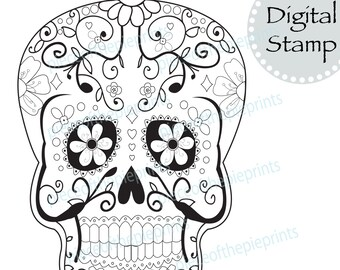 INSTANT DOWNLOAD Day Of The Dead Digital Stamp Clipart Skull Mexico Sugar Scrapbook Download
