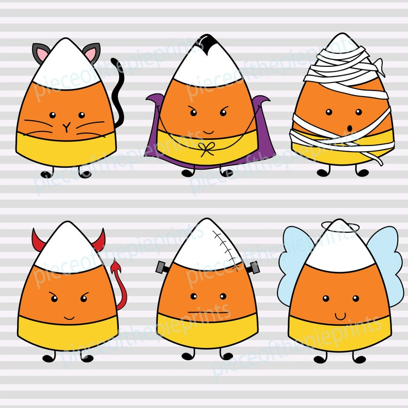 INSTANT DOWNLOAD Clipart/Halloween/candy corn/hand drawn clipart/trick or  treat/digital image/personal/commercial