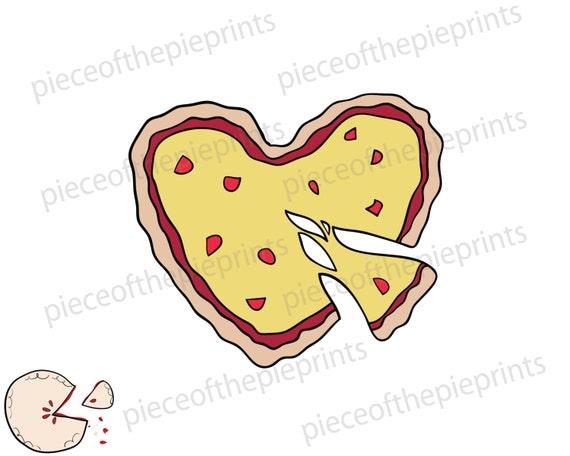Herz Pizza Valentinstag Svg Clipart Hand Gezeichnet Digital Etsy