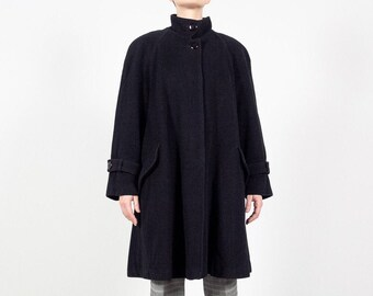 RAFFINATI Black Wool Coat / 80s Oversize Black WOOL Swing Coat / Vintage Wool Parka Made In Canada / Small Medium