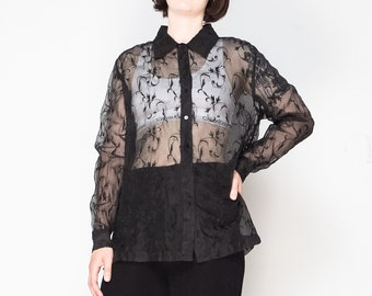 aa817273 90s Black Silk Organza Embroidered Blouse / Size M-L