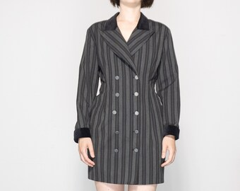 90s Striped Double Breasted Dress with Velvet Collar + Cuffs / Size Medium