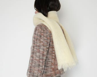 Vintage Mohair Scarf in Cream / Long
