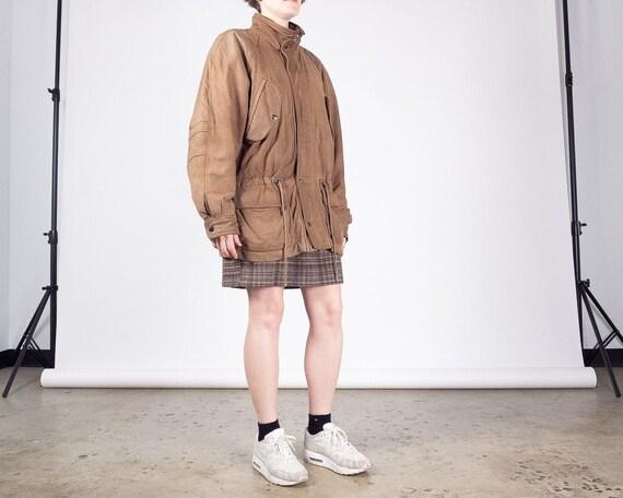 LEATHER Jacket / Vintage 80s ADA Brown Beige Leath