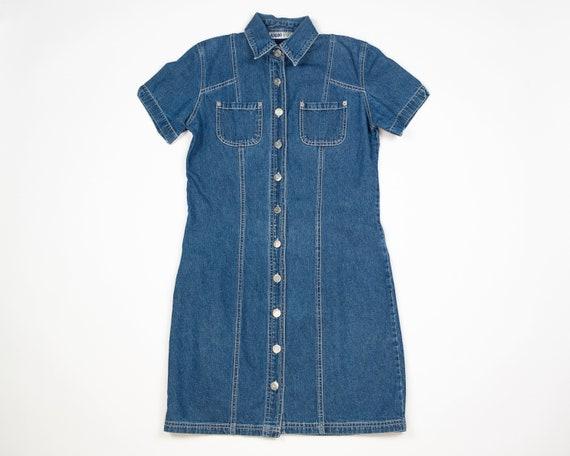 DENIM Dress / 90s Adriana SPORT 100% Cotton Denim