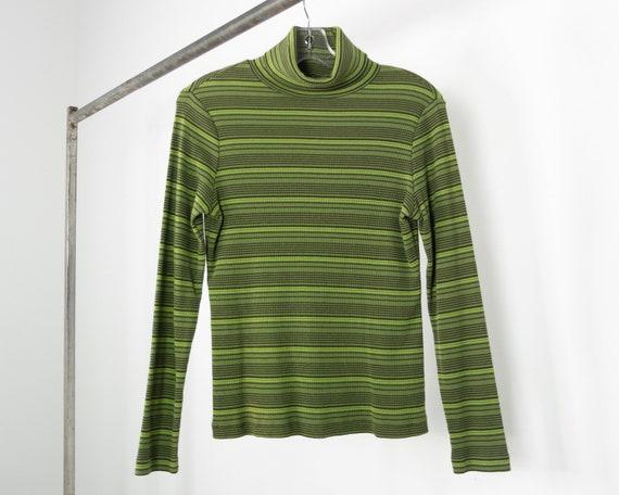 Y2K RIBBED + STRIPED Green Turtleneck / Vintage Gr