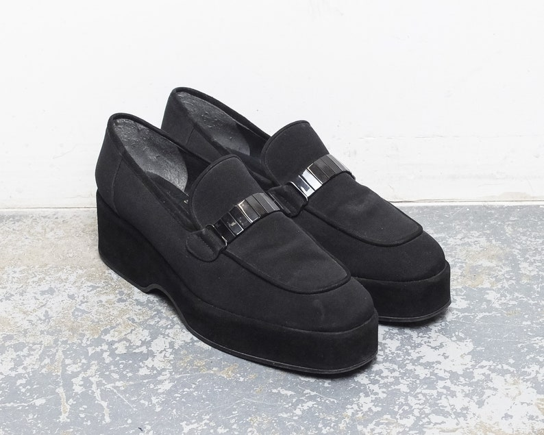 Size 10 US Women/'s  90s Stuart Weitzman Black Suede Fabric Platform Loafers