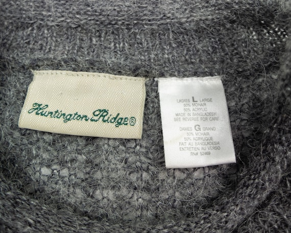GREY MOHAIR Sweater / Vintage 90s Fluffy Grey Box… - image 6