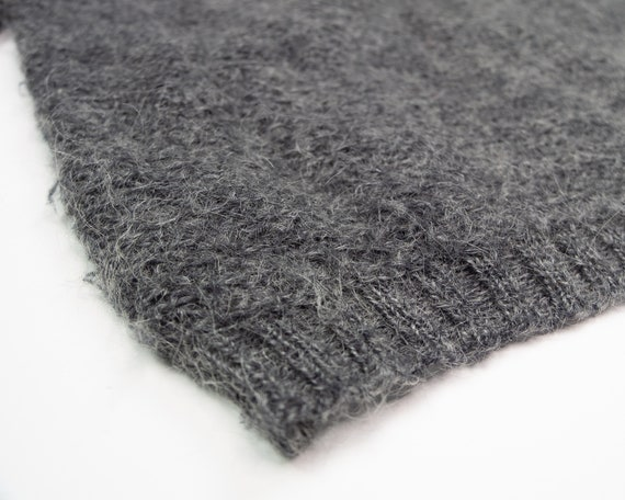 GREY MOHAIR Sweater / Vintage 90s Fluffy Grey Box… - image 3