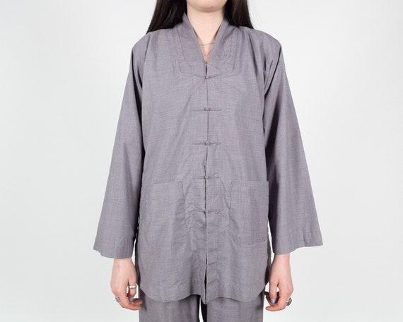TWO PIECE Set Pajamas / Light Grey Purple Top & Pa