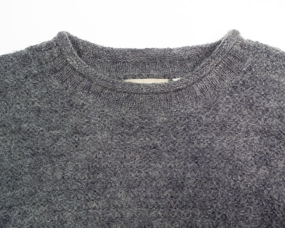 GREY MOHAIR Sweater / Vintage 90s Fluffy Grey Box… - image 2