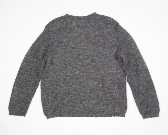 GREY MOHAIR Sweater / Vintage 90s Fluffy Grey Box… - image 4