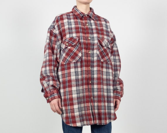 90s Wool Blend Plaid Shirt Jacket / Size XL