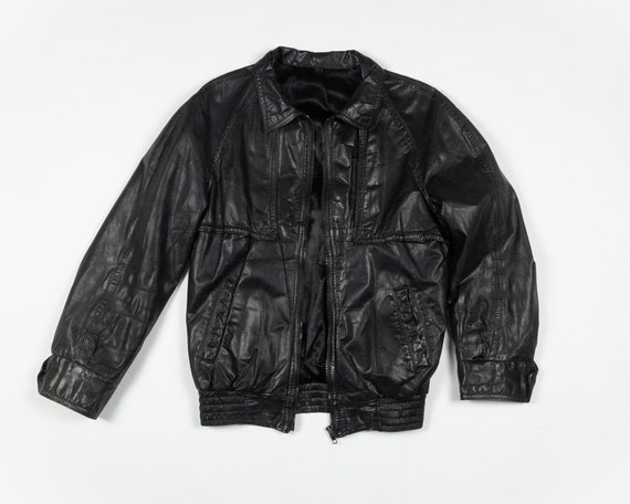 MOTORCYCLE LEATHER Jacket / 80s Vintage Black Leat