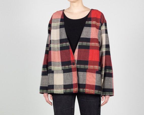 BOXY Oversize Blazer / Woven Rayon Plaid Blazer /