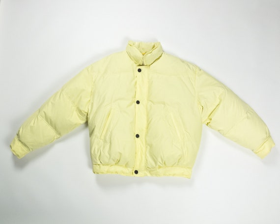 YELLOW DOWN Puffer Jacket Cropped Colle Ski Wear C