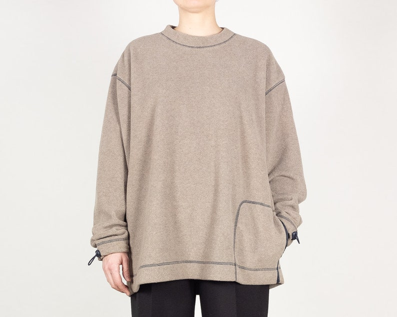 6a7da12f7f33 90s Y2K Oversize Beige Brown Tech Fleece Sweater with Toggles