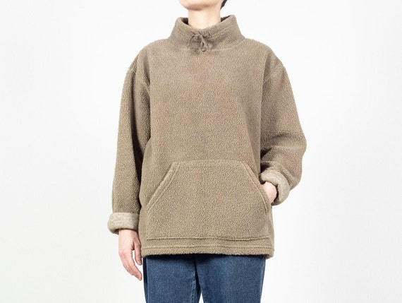 Beige FLEECE Mockneck Sweater / Vintage GAP Fleece