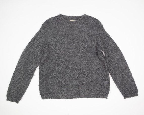 GREY MOHAIR Sweater / Vintage 90s Fluffy Grey Box… - image 1