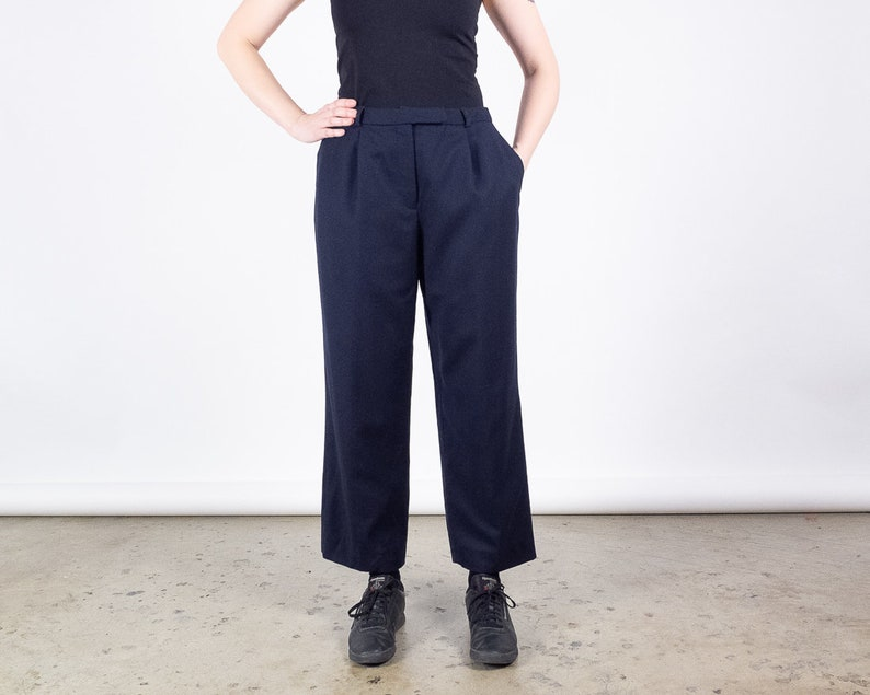 Size 30  Vintage Navy Wool Straight Leg Pants  Lined