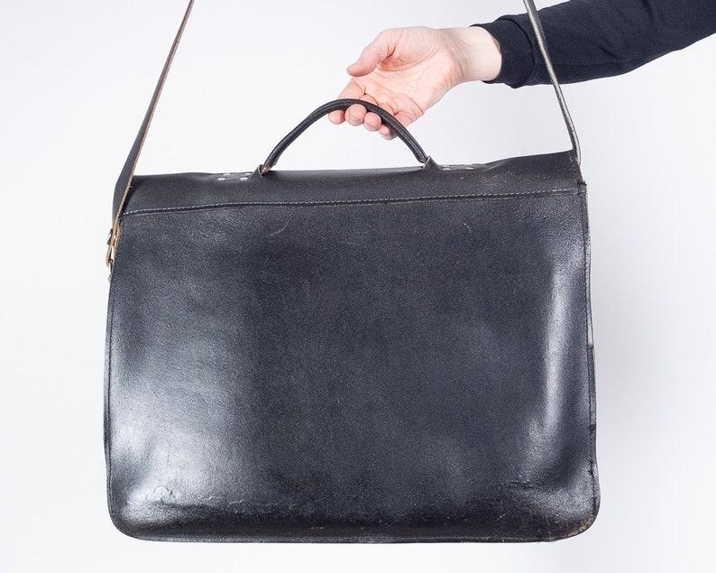80s Black Leather School Bag  Satchel  Briefcase  Messenger Bag