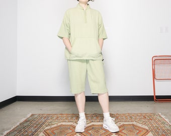 80s Pale Green Cotton Sports Set / Matching Top and Capris / Size Medium