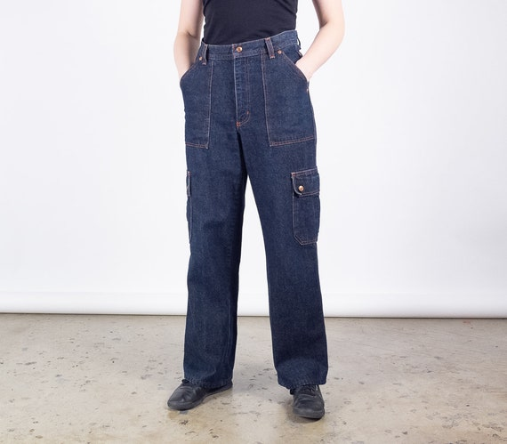 Women's Relaxed Fit Straight Leg Cargo Pants, Navy Blue