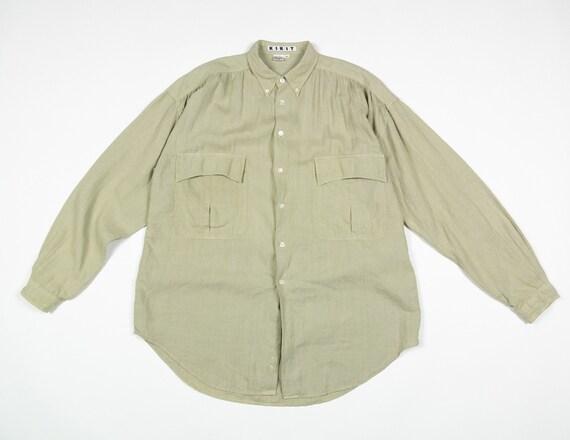 LINEN Gathered Blouse / 80s KIKIT Vintage Linen Bu